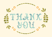 Artistic Font Thank You Greeting Card