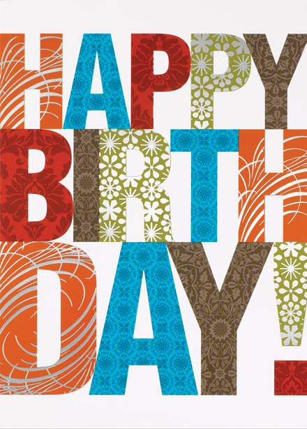 Patterned Wishes Happy Birthday Card